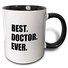 3dRose mug_179775_4 Best Doctor Ever Fun Job Pride Gift for GPs, Specialist Drs and PhDs Two Tone Black Mug, 11 oz, Black/White