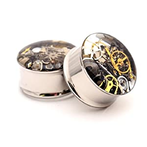 Mystic Metals Body Jewelry Embedded Steampunk Watch Parts Plugs -5/8 Inch – 16mm – Sold As a Pair