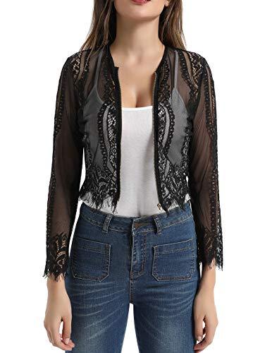 Women Lace Long Sleeve Sexy Zipper T-Shirt Top (XL,Black) ()