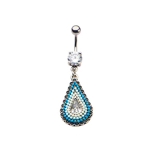 Pierced Owl Beaded Turquoise Teardrop Dangling Charm Belly Button Ring with CZ Crystal -