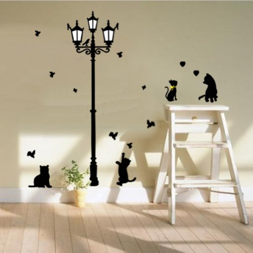 Amazon.com : Black Cat Decal Black Cat Lamp Wall Stickers for Children Bedroom Wall Decor : Baby