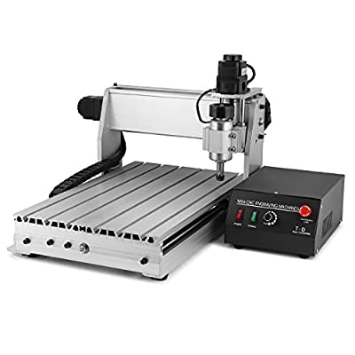 EnPoint 110V 200W CNC Router Engraving Tools 3020-T 3/4-Axis Desktop with Stepper Motor Extruded Aluminum Milling Mini Machine and Quiet Spindle for Arts Craft Carving Woodworking Metalworking