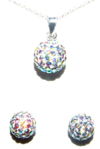 10mm 0.4 inch Very pretty AB ball pendant necklace on 18 inch 46cm rolo cable chain with matching 8mm 0.31 inches stud earrings. Made using solid sterling silver 925 and swarovski crystals. For other Birthstones please type Decorum Jewellery into the search bar.