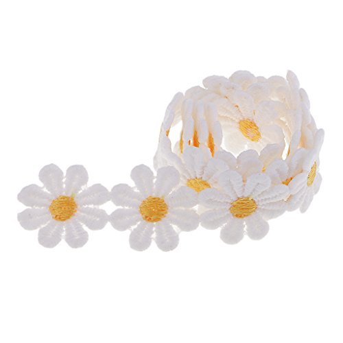 (MagiDeal 0.55 Yard Embroidery Flower Decorative Ribbon Lace Trims for Garment,Curtain Decorcation venise Lace for DIY Handmade Art Project - 10# Yellow Daisy)