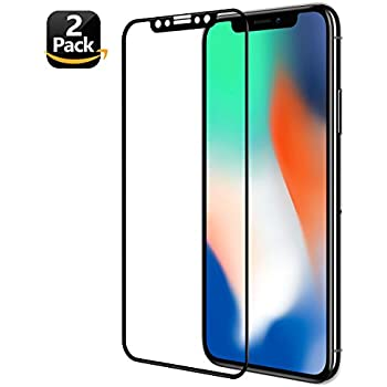 iPhone X Screen Protector(2 Pack), ALLEASA 3D Full Coverage Film HD Clear 9H Surface Hardness Tempered Glass Screen Protector (Anti-Scratch) For iPhone X/iPhone 10-Black