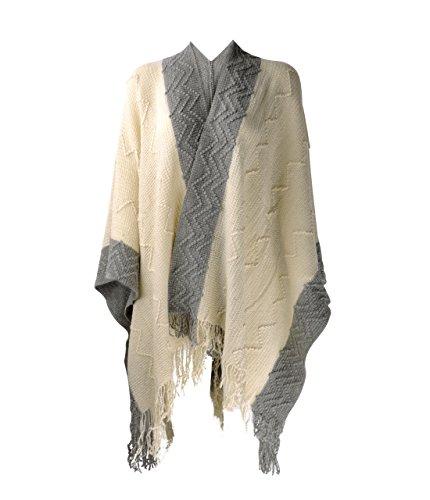 (ZLYC Women Soft Textured Knit Blanket Wrap Fringe Poncho Cardigan Sweater with Contrast Trims, Beige)