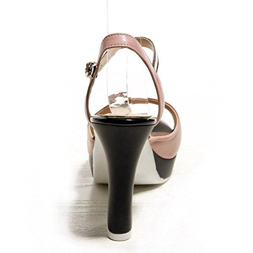 Amoonyfashion Kvinna Spänne Peep Toe Höga Klackar Ko Läder Diverse Färg Sandaler Rosa