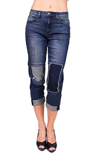 36c80cd61b8 hot sale 2017 Cello Jeans Women Patchwork Mended Folded Girlfriend Jeans  with Black Stitch
