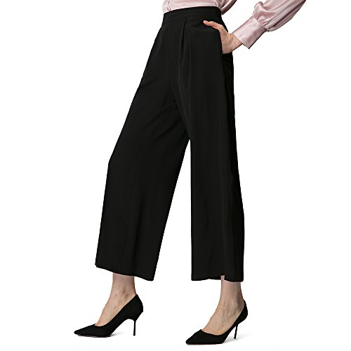 LilySilk Silk Dress Pants for Women Wide Leg Pants Pure Real Silk 18MM Soft Breathable Cool for Summer Black X-Large