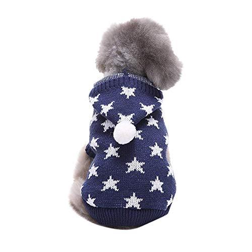 Cute Hoodie Sweater for Dogs,Pet Cat Winter Winter Warm Pentagram Hooded Coat Costume Apparel T-Shirt Winter Warm T Shirt Blue S