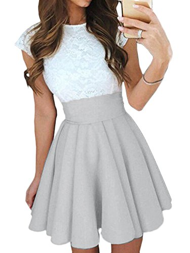 Elevesee Women's Lace A-line Sleeveless Pleated Cocktail Party Skater Skirt Dress Gray Small (Round Pleated Skirt)