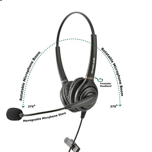 OvisLink Professional Cisco Headset with HD Sound Noise Cancellation and  Quick Disconnect Cords – Binaural Call Center Headset for Cisco Phone