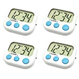 lcd digital timer - 4 Pack Digital Kitchen Timer Magnetic Back Big LCD Display Loud Alarm Minute Second Count Up Countdown With ON/OFF Switch For Kitchen, Homework, Exercise, Game(4 White)