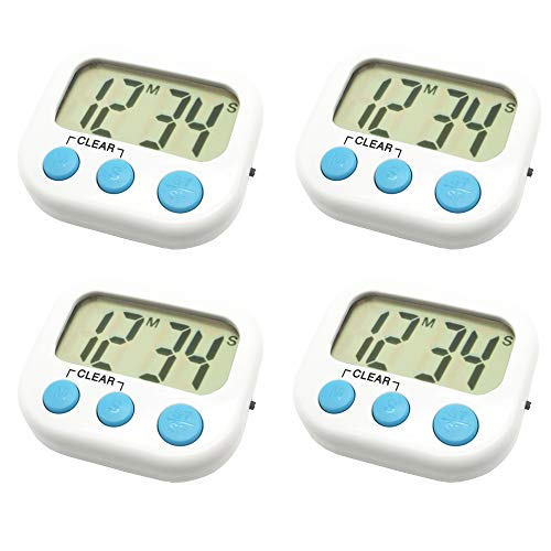 - 4 Pack Digital Kitchen Timer Magnetic Back Big LCD Display Loud Alarm Minute Second Count Up Countdown With ON/OFF Switch For Kitchen, Homework, Exercise, Game(4 White)