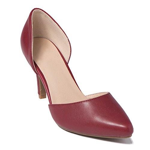Zapatos de sandalias verano TK09 Stiletto talón Mujer 'Orsay de On Slip bajo Rojo fiesta vestido D shobeautiful de Bomba R4xYq1wRH