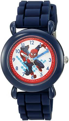 Marvel Boy's 'Spider-Man' Quartz Plastic and Silicone Casual Watch, Color:Blue (Model: WMA000025)