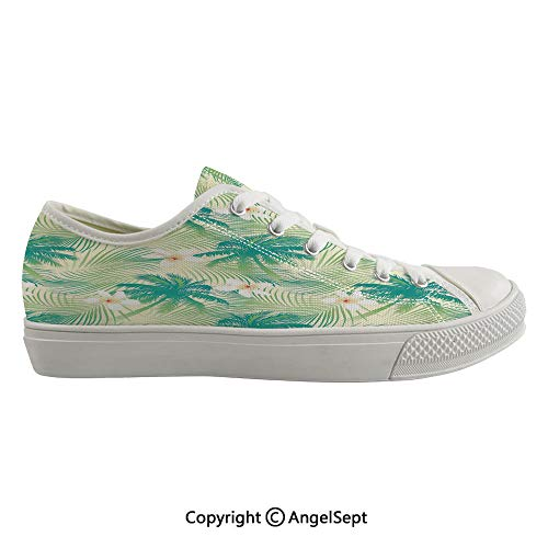 (Durable Anti-Slip Sole Washable Canvas Shoes 14.17inch Oceanic Island Palm Tree Leaves with Papaya Crepe Ginger Flowers Art Print Decorative,Light Green and Blue Flexible and Soft Nice Gift)