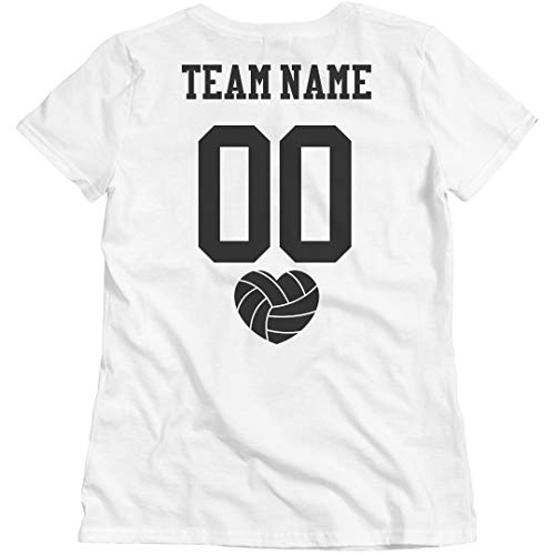 - Customized Girl Personalized Volleyball Team Tee: Ladies Relaxed Fit Basic T-Shirt White