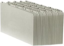 Pendaflex PN1025 A-Z Top Tab Recycled File Guides, 25 pt. Gray pressbd., 1/5 Tab, Legal, 25/set