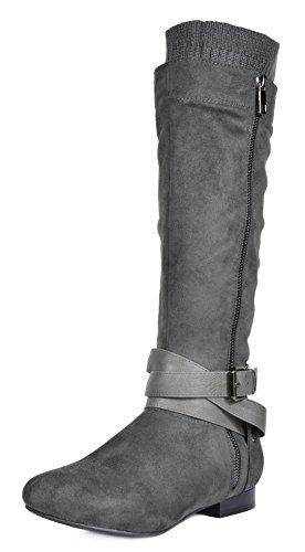 DREAM PAIRS Women's BLVD/Beltran Knee High Boots (Wide-Calf) Grey-b-wide Calf