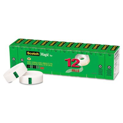 Magic Office Tape Refills, 3/4'' x 1000'' Roll, Clear, 12/Pack, Sold as 1 Package, 12 Roll per Package by Scotch (Image #5)