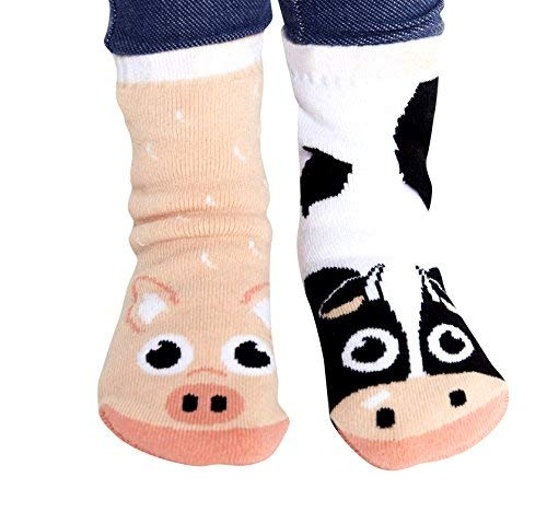Cow & Pig Barn Animal Pals Mismatched Adorable Cute Socks for Kids Boys Girls Toddlers with Nonskid No Slip Grips (Age 1-3)