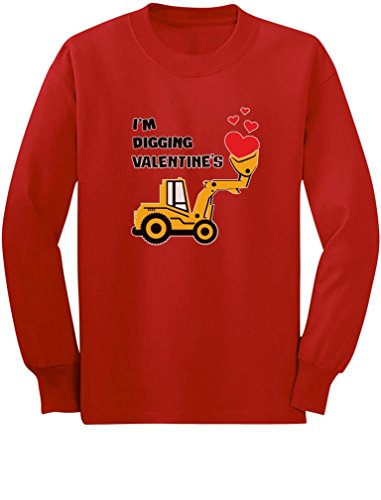 I'm Digging Valentine's Gift Tractor Loving Boy Toddler/Kids Long Sleeve T-Shirt 5/6 Red
