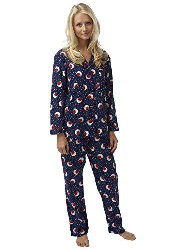 Damas Indigo Sky algodón puro winceyette Robin Pijamas Claret o de la Marina Navy