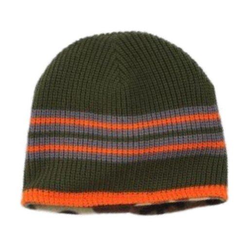 (Ben Berger Boys Reversible Green Knit Beanie Cammo Fleece Stocking Cap Hat)