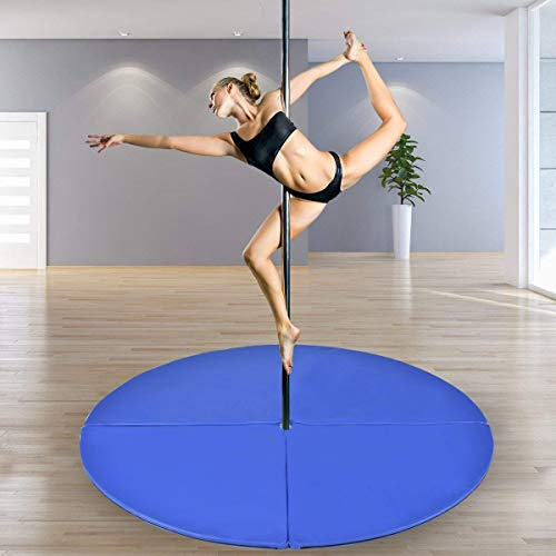 Tangkula Pole Dance Mat Foldable Yoga Exercise Safety Dancing Cushion Steel Pipe Crash Mat, Dia 5ft x 2