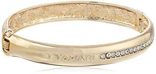 - T Tahari Gold with Crystal Pave Hinge Bangle Bracelet