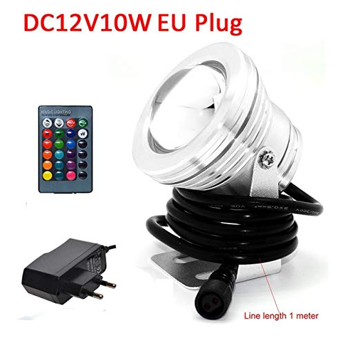 Silver : DC12V 10W LED Underwater Light Aluminum Swimming Pool Light Waterproof Aquarium LED for Fish Tank Fountain Pond with EU/