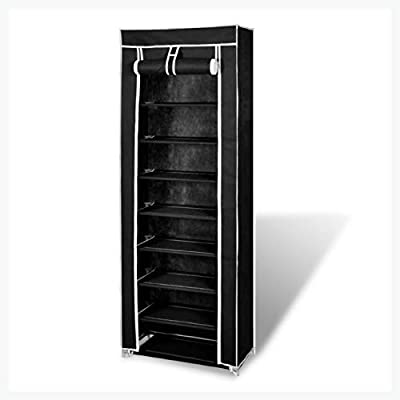 "K&A Company Fabric Shoe Cabinet with Cover 22"" x 11"" x 64"" Black"