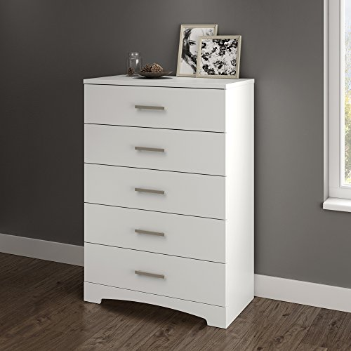 South Shore Gramercy 5-Drawer Dresser, Pure White with Brushed Nickel Handles (Sale White For Cheap Dressers)