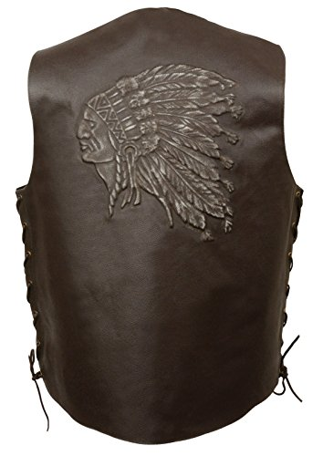 Event Leather Mens Side Lace Retro Brown Leather Vest W/Indian Head Embossed 2 Gun Pockets (Retro Brown Vest Side Laces)