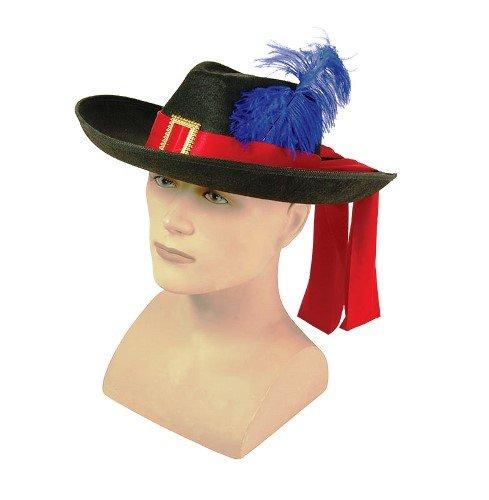 Musketeer Male Fancy Dress Accessory Felt Hat & Feather (Musketeers Fancy Dress)