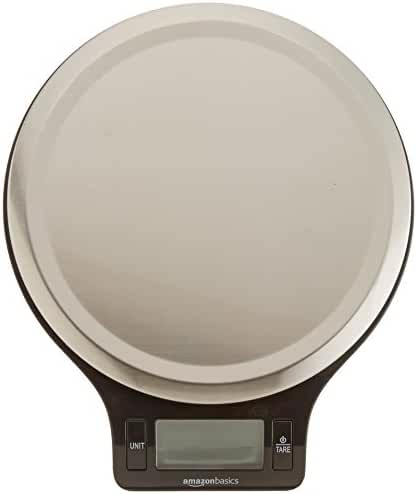 AmazonBasics Stainless Steel Digital Kitchen Scale with LCD Display (Batteries Included)