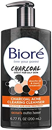 Bioré Charcoal Acne Clearing Face Wash, 1percent Salicylic Acid Acne Treatment, Helps Prevent Breakouts, Oil A
