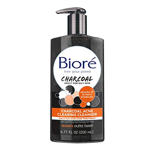 Bioré Charcoal Acne Clearing Cleanser for oily and acne prone skin, 6.77 Ounces with Salicylic Acid Acne Treatment, Daily Face Wash, Dermatologist Tested, Oil Free (Packaging May Vary) (Best Face Wash For Chin Acne)
