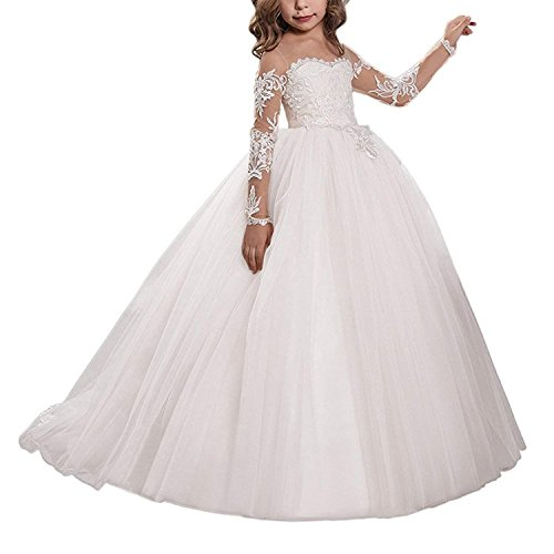 Carat Lace Embroidery Sheer Long Sleeves Kids Trailing Gowns (Size 4, B-Ivory)
