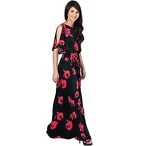 09272da005d09 KOH KOH Womens Long Short Sleeve Floral Print Summer Sexy Casual Sundress  Boho Bohemian Split Flowy Cute Sundresses Sun Gown Gowns Maxi Dress Dresses