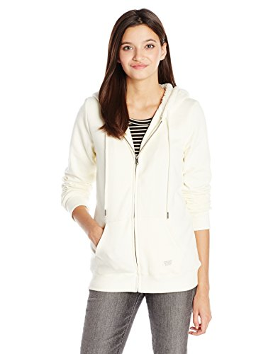 Volcom Junior's Lived in Sherpa Zip Hoodie, Vintage White, Small