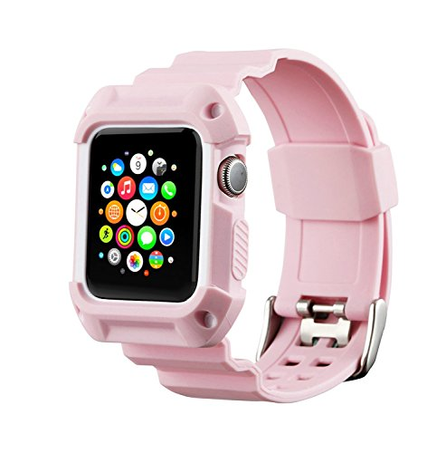 Compatible Apple Watch Band with Case 42mm, MAIRUI Rugged Protective G-Shock Replacement Strap Wristband for Apple Watch Series 3/2/1, iWatch Nike+/Sport/Edition (Pink)