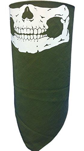 - Adjustable Close OLIVE OD GREEN SKULL REVERSIBLE BANDANA FACE NECK MASK COVER SKI DUST