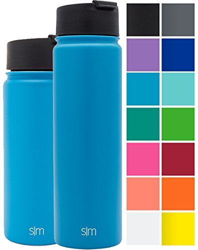 Simple Modern 22oz Vacuum Insulated Stainless Steel Water Bottle - Extra Flip Lid Included - Summit Wide Mouth Thermos - Double Walled Flask - Powder Coated Hydro Canteen - Sky - Travel Mug Ounce 22