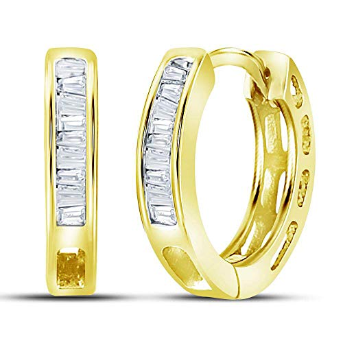 (The Diamond Deal Yellow-tone Sterling Silver Womens Baguette Diamond Huggie Earrings 1/8 Cttw)