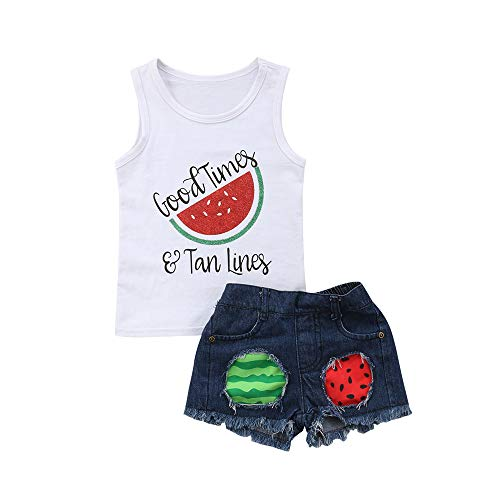 Toddler Baby Girl Watermelon Outfits White Tank top + Denim Ripped Shorts 2Pcs Summer Clothes Set (White,2-3T)]()