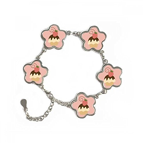 Strawberry Chocolate Sweet Ice Cream Flower Shape Metal Bracelet Chain Jewelry Bangle Decoration Gift