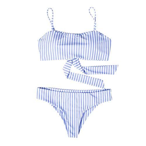 0023745b03a NUWFOR Women Bikini Set Swimming Two Piece Swimsuits Swimwear Beach Suit(Blue,M  0