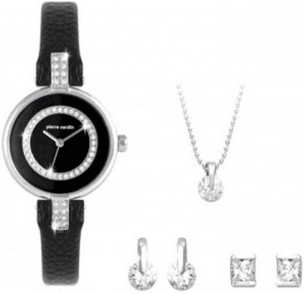 Pierre Cardin, Elegante Juego de Regalo para Mujer, Reloj y joyería de Plata